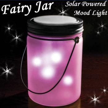 電気不要/電池式・ソーラー充電式LEDライト「フェアリージャー ソーラーライト」PKピンク